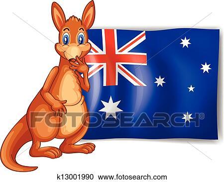 Clipart of A kangaroo beside an Australian flag k13001990 - Search ...