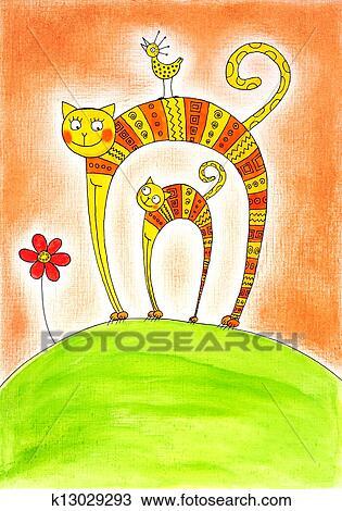 dessin chat et chaton dessin enfant tableau aquarelle sur papier k13029293 recherchez. Black Bedroom Furniture Sets. Home Design Ideas