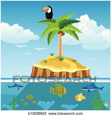 Clipart of desert island and undersea world k13036652 for Desert island fishing