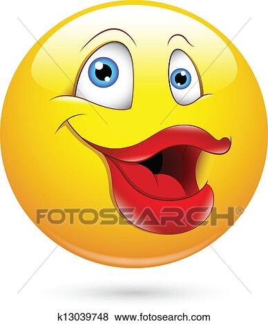 Clip Art of Funny Lady with Big Lips Smiley k13039748 ...