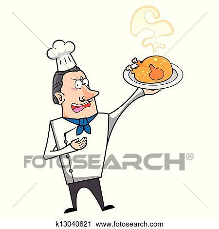 Clipart dessin anim chef cuistot poulet r ti k13040621 recherchez des clip arts des - Dessin de poulet roti ...