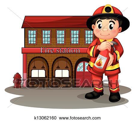 Clipart a pompier devant a caserne pompiers tenue - Dessin caserne pompier ...