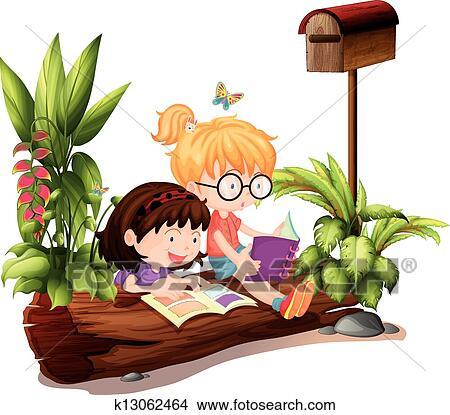 clipart zwei junge m dchen bei dass h lzern briefkasten k13062464 suche clip art. Black Bedroom Furniture Sets. Home Design Ideas
