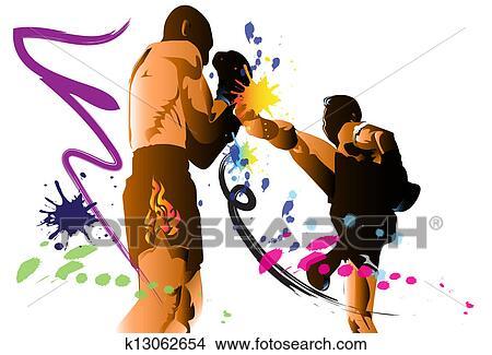 腿, 艺术, 人, 泰国人, 踢, 战斗, 力量, 风格