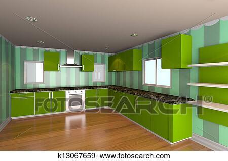 Stock Illustraties - keuken, kamer, met, groene, behang k13067659 ...