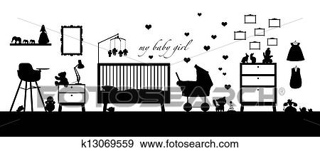 스톡 일러스트 - 갓난 여자 아기, 방, 내부, 검정, 실루엣 k13069559 ...