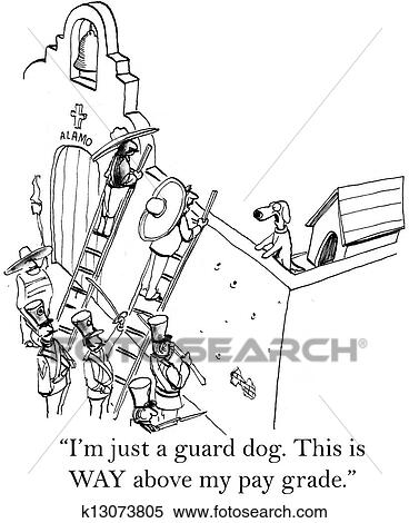 Stock Illustration of Worried dog is the guard for the Alamo ...