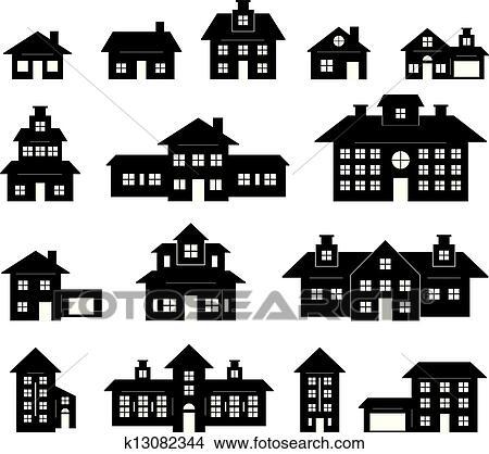 Haus clipart schwarz weiß  Clipart - haus, schwarz weiß k13082344 - Suche Clip Art ...