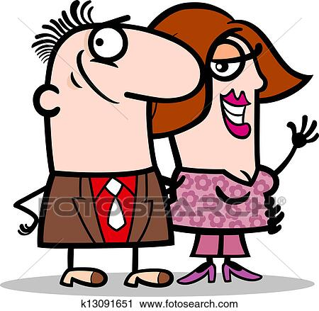 Clipart of happy man and woman couple cartoon k13091651 - Search ...