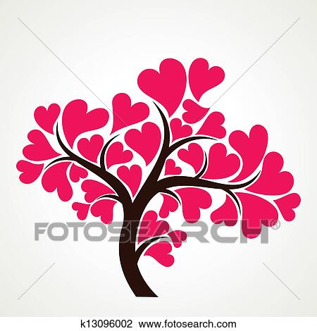 Clipart of lover tree with pink heart shape le k13096002 ...
