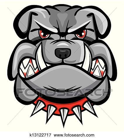 Angry bulldog drawing