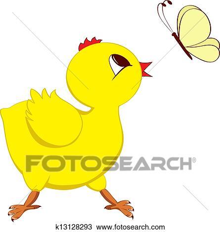 剪贴画 - 小鸡, 带, 蝴蝶