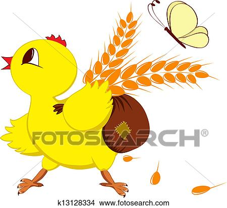 剪贴画 - 小鸡, 带, 小麦