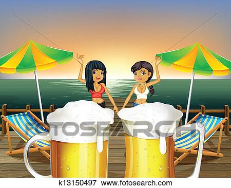 Clip Art of Ladies at the wooden bridge and the pitchers of beer ...