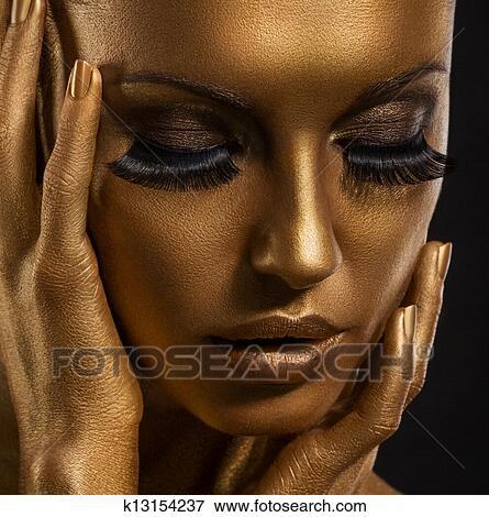 bild gilt goldenes frau gesicht closeup zukunftsidee giled make up angestrichene. Black Bedroom Furniture Sets. Home Design Ideas