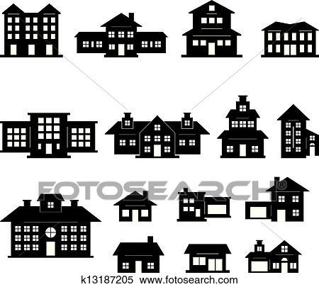Haus clipart schwarz weiß  Dorf büro Clipart EPS Bilder. 682 dorf büro Clip Art Vektor ...