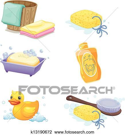 clipart accessoires salle bains k13190672 recherchez des clip arts des illustrations des. Black Bedroom Furniture Sets. Home Design Ideas