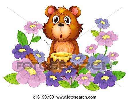 Clipart of A bear holding a honey in the flower garden ...