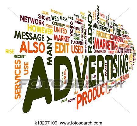 Stock illustration of advertising word in tag cloud for Advertising companies uk