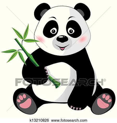 剪贴画 - 熊猫, 带, 竹子