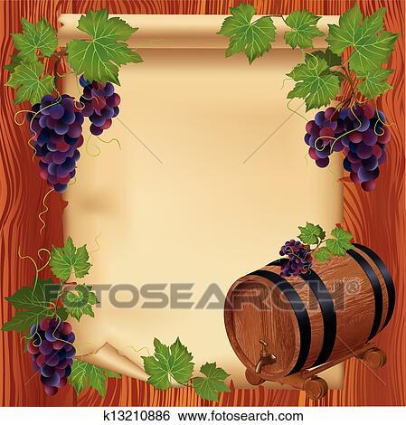 clipart fond raisin baril et papier sur conseil bois k13210886 recherchez des. Black Bedroom Furniture Sets. Home Design Ideas