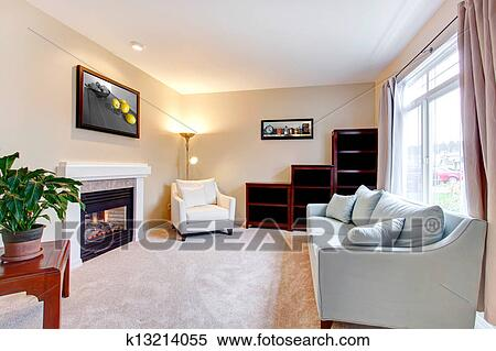 stock bild elegante modernes amerikanisch wohnzimmer innere mit fireplace k13214055. Black Bedroom Furniture Sets. Home Design Ideas