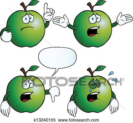 剪贴画 - 哭泣, 苹果,