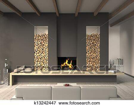 bild fictitious land stil wohnzimmer mit kaminofen k13242447 suche stockfotografie. Black Bedroom Furniture Sets. Home Design Ideas