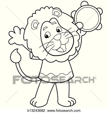 Clipart of Cartoon Lion Playing a Tambourine k13243682 - Search ...