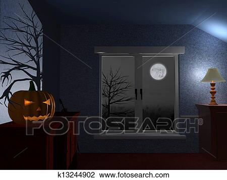Clip Art Of Scary Dark Room On Halloween Night K13244902