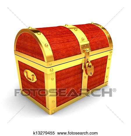 Wooden treasure chest View Large Illustration