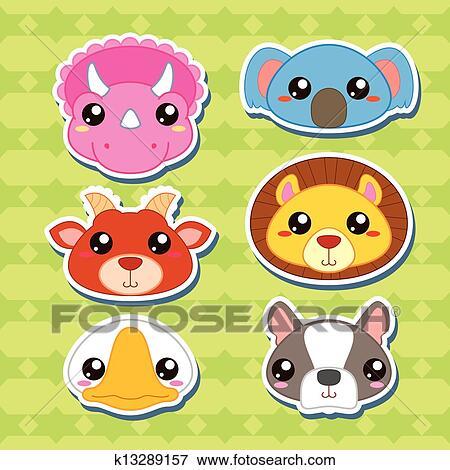 Clip art sei carino cartone animato testa animale - Animale cartone animato immagini gratis ...