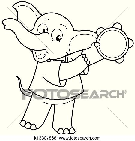 Clip Art of Cartoon Elephant Playing a Tambourine k13307868 ...