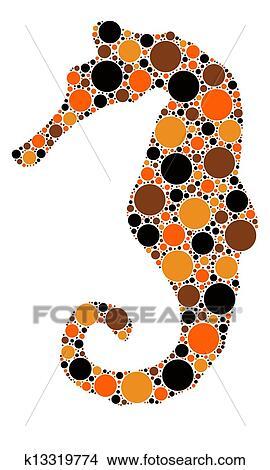 点, 颜色, 海马, 描述图片