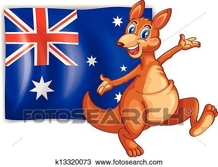 Clipart of A kangaroo presenting the flag of Australia k13320073 ...