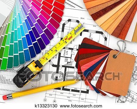 Interior Design Architectural Materials Tools And Blueprints