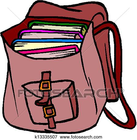 Clip Art of School Bag with Books k13335507 - Search Clipart ...