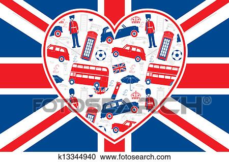 Clipart of British flag - Heart - London icons k13344940 - Search ...