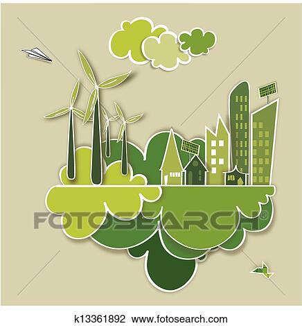 剪贴画 - 去, 绿色, 城市