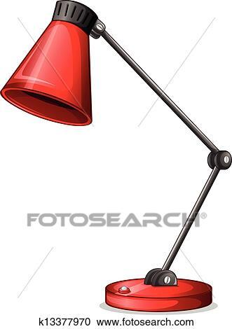 clipart a roter schreibtisch lampenschirm k13377970. Black Bedroom Furniture Sets. Home Design Ideas