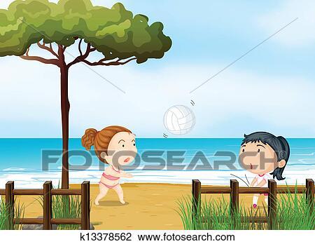clipart zwei kleine m dchen spielen von volleyball strand k13378562 suche clip art. Black Bedroom Furniture Sets. Home Design Ideas