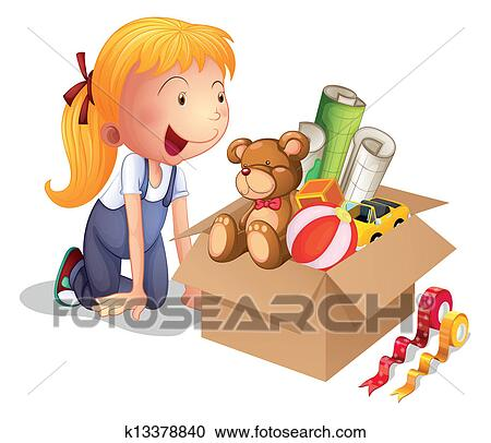 clipart of a girl with a box of toys k13378840 search clip art illustration murals drawings. Black Bedroom Furniture Sets. Home Design Ideas