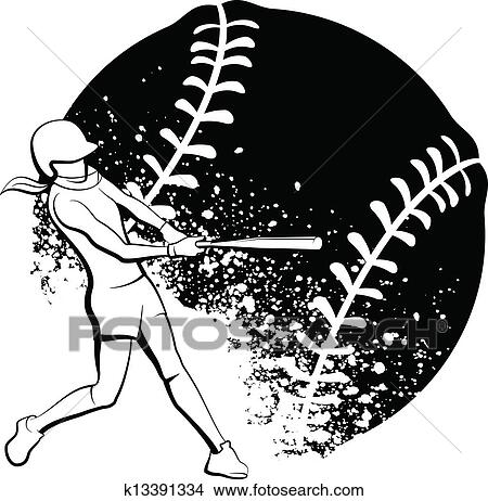 Clip Art Clipart Softball clip art of softball ball banner k17843418 search clipart girl batter