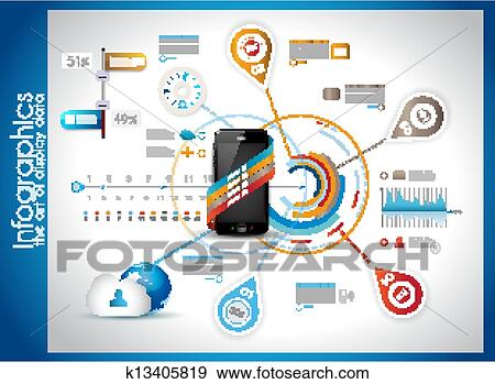 Clip Art of Infographic Template for Cloud computing data ...