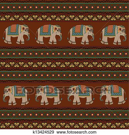 clip art indische muster mit elefant k13424529 suche clipart poster illustrationen. Black Bedroom Furniture Sets. Home Design Ideas