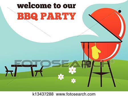 Clip Art of BBQ Party invitation k13437288 - Search Clipart ...