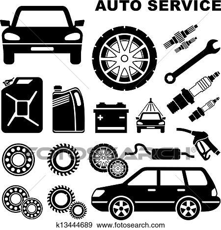 失量图库 汽车修理, 服务, 图标高清图片