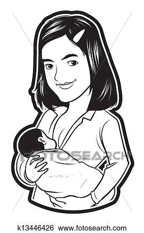 Clip Art of breastfeeding baby k13446426 - Search Clipart ...