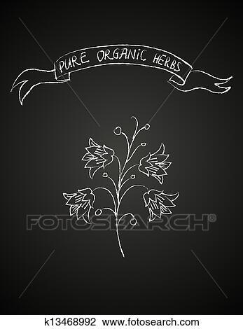 clipart craie fleur sur tableau noir k13468992. Black Bedroom Furniture Sets. Home Design Ideas