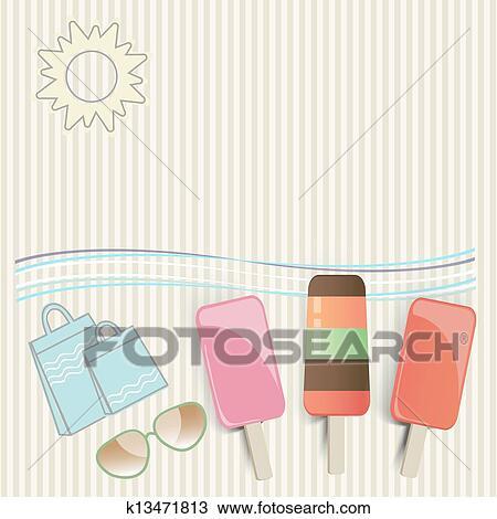 手绘图 - 夏天, 冰淇淋